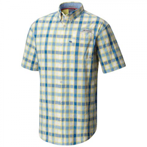 Columbia Men ' S Super Harborside Woven Short Sleeve Shirt - Sunlit Seersucker Plaid