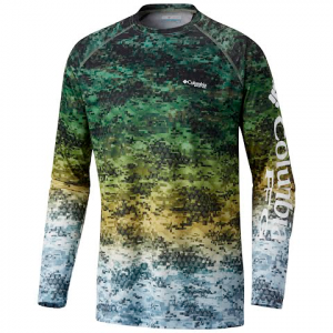 Columbia Men ' S Terminal Tackle Camo Fade Long Sleeve Shirt - Cypress Bass Digi Fade Print