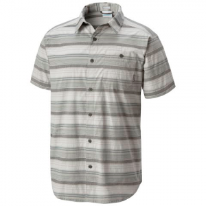 Columbia Men ' S Boulder Ridge Short Sleeve Shirt ( Tall Extended Sizes ) - Columbia Grey Stripe
