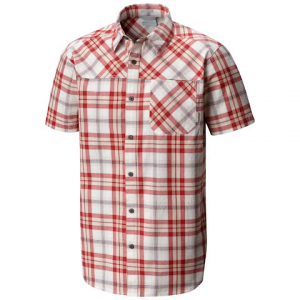 Columbia Men ' S Thompson Hill Yarn Dye Short Sleeve Shirt - Red Element Plaid