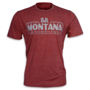Blue 84 Mens University Of Montana ' Um ' Armguard Triblend S / S Tee - Maroon