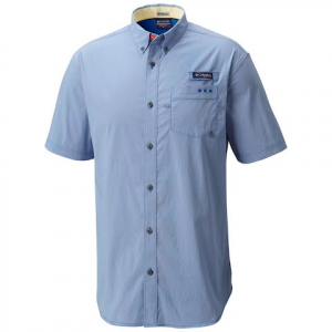 Columbia Men ' S Harborside Woven Short Sleeve Shirt - Vivid Blue / Sunlit
