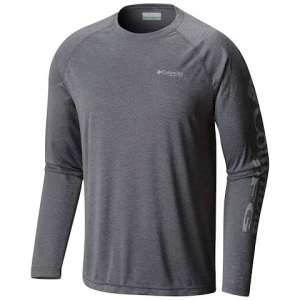 Columbia Men ' S Pfg Terminal Tackle Heather Long Sleeve Shirt - Charcoal Heather / Cool Grey Logo