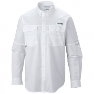 Columbia Mens Pfg Blood And Guts Iii Long Sleeve Woven Shirt - White