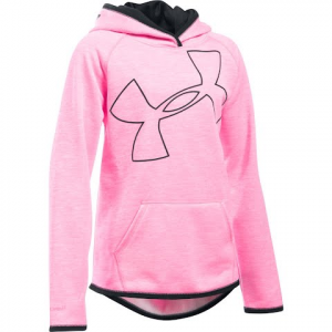 Under Armour Youth Girl ' S Ua Armour Fleece Novelty Jumbo Logo Hoodie - Pink Punk