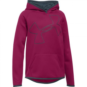 Under Armour Youth Girl ' S Ua Armour Fleece Jumbo Logo Hoodie - Black Cherry