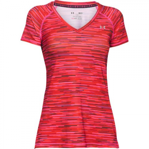 Under Armour Women ' S Heatgear Armour Mesh Printed V - Neck - Rebel Pink