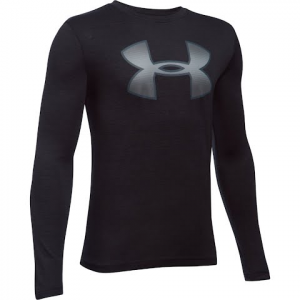Under Armour Boy ' S Youth Novelty Big Logo Long Sleeve T - Shirt - Black / Steel