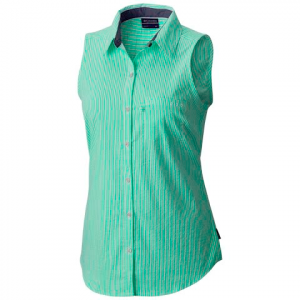 Columbia Women ' S Pfg Super Harborside Woven Sleeveless Shirt - Winter Green Seersucker