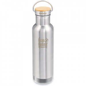 Klean Kanteen 20oz Reflect Bottle With Bamboo Cap - Brushed Stainless