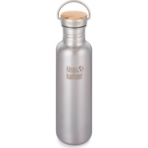 Klean Kanteen 27oz Reflect Water Bottle With Bamboo Cap - Brushed Stainless