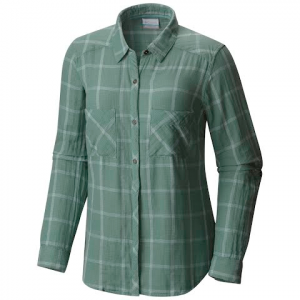 Columbia Women ' S Trail On Long Sleeve Plaid Shirt - Dusty Green Plaid