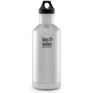 Klean Kanteen 32oz Classic Vaccum Insulated Water Bottle With Loop Cap - Brushed Stainless