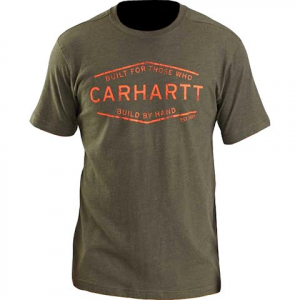 Carhartt Men ' S Maddock Built By Hand Graphic Short Sleeve Tee - Moss Heather
