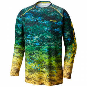 Columbia Men ' S Terminal Tackle Camo Fade Long Sleeve Shirt - Green Mamba Dorado Digi Fade Print