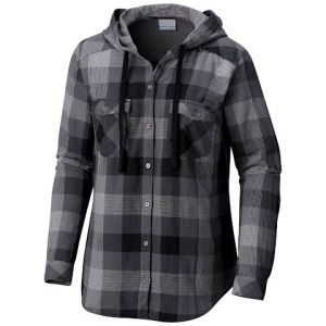 Columbia Women ' S Times Two Hooded Long Sleeve Flannel Shirt - Black Big Check