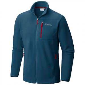 Columbia Men ' S Cascades Explorer Full Zip Fleece Jacket - Dark Mountain / Red Element