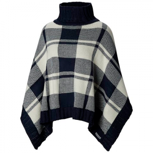 Columbia Women ' S Be Cozy Sweater Poncho ( Extended Sizes ) - Collegiate Navy / Light Bisque Plaid