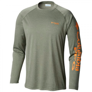 Columbia Men ' S Pfg Terminal Tackle Heather Long Sleeve Shirt - Cypress Heather / Koi Logo