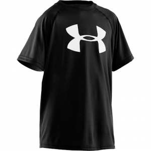Under Armour Boy ' S Youth Big Logo Tech Short Sleeve Tee - Black
