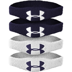 Under Armour 1 / 2 Inch Oversized Performance Wristband : 4 Pack - Midnight Navy / White
