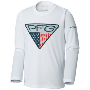 Columbia Youth Boy ' S Terminal Tackle Triangle Fill Long Sleeve Shirt - White