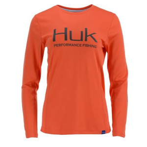 Huk Women ' S Icon Long Sleeve - Coral