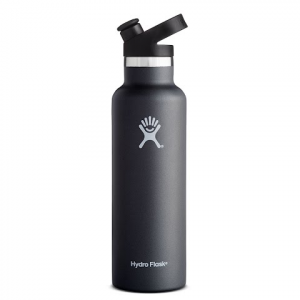 Hydro Flask 21 Oz Standard Mouth Water Bottle With Sport Cap - Black