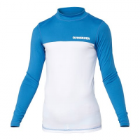 Quiksilver Boy's Youth Chop Block Long Sleeve Rashguard - Blue / White