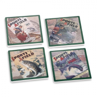 Big Sky Carvers Sports Afield Fishing Coasters ( Set Of 4 )