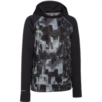 Image of Under Armour Boy's Ua Storm Armour Fleece Printed Big Logo Hoodie - Black / Graphite