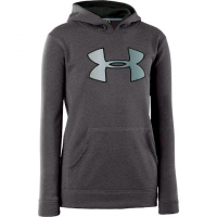 Under Armour Boy's Youth Armour Fleece Storm Big Logo Hoodie - Carbon / Black