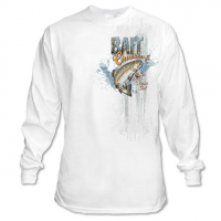 Graphic Imprints Mens Bait Chuckers Get Your Worm On Graphic L / S Tee - White
