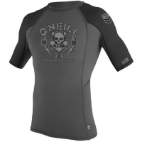 Oneill Mens Skins Graphic Crew Rashguard - Graphite / Black