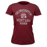 Blue 84 Womens Jrs University Of Montana Grizzlies Burnout Tee - Maroon