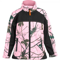 Trail Crest Youth Custom Xrg Soft Shell Jacket - Pink Forrest / Black Camo