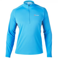 Berghaus Men's Long - Sleeve Zip - Neck Tech Tee - Blue Lemonade