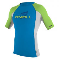 Oneill Boys Youth Skins S / S Crew Rashguard - Bright Blue / Lunar