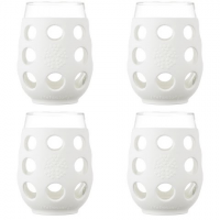 Lifefactory 17 Ounce Wine Glass 4 Pack With Silicone Sleeves - Optic White