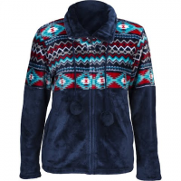 Trail Crest Women's Aztec Flannel Plush Fleece Full Zip Jacket - Blue
