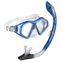Us Divers Admiral Lx 2 Mask And Island Dry Snorkel Combo - Electric Blue