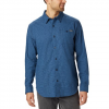 Columbia Men ' S Cornell Woods Flannel Long Sleeve Shirt - Scout Blue Houndstooth