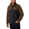 Columbia Men ' S Steens Mountain Half Snap Fleece Pullover ( Tall ) - Black / Olive Green