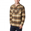 Columbia Men ' S Outdoor Elements Stretch Flannel - Olive Brown Plaid
