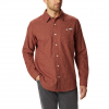 Columbia Men ' S Cornell Woods Flannel Long Sleeve Shirt - Red Jasper Houndstooth