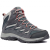 Columbia Women ' S Crestwood Mid Waterproof Hiking Boot - Graphite / Daredevil