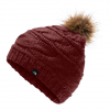 The North Face Triple Cable Fur Pom - Deep Garnet Red / Dijon Brown