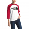 The North Face Women ' S 3 / 4 Half Dome Baseball Tee - White / Red