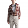 The North Face Women ' S Long Sleeve Boyfriend Shirt - Deep Garnet Red Multi - Plaid