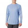 Columbia M Pfg Terminal Deflector L / S Shirt - Vivid Blue / Cool Grey